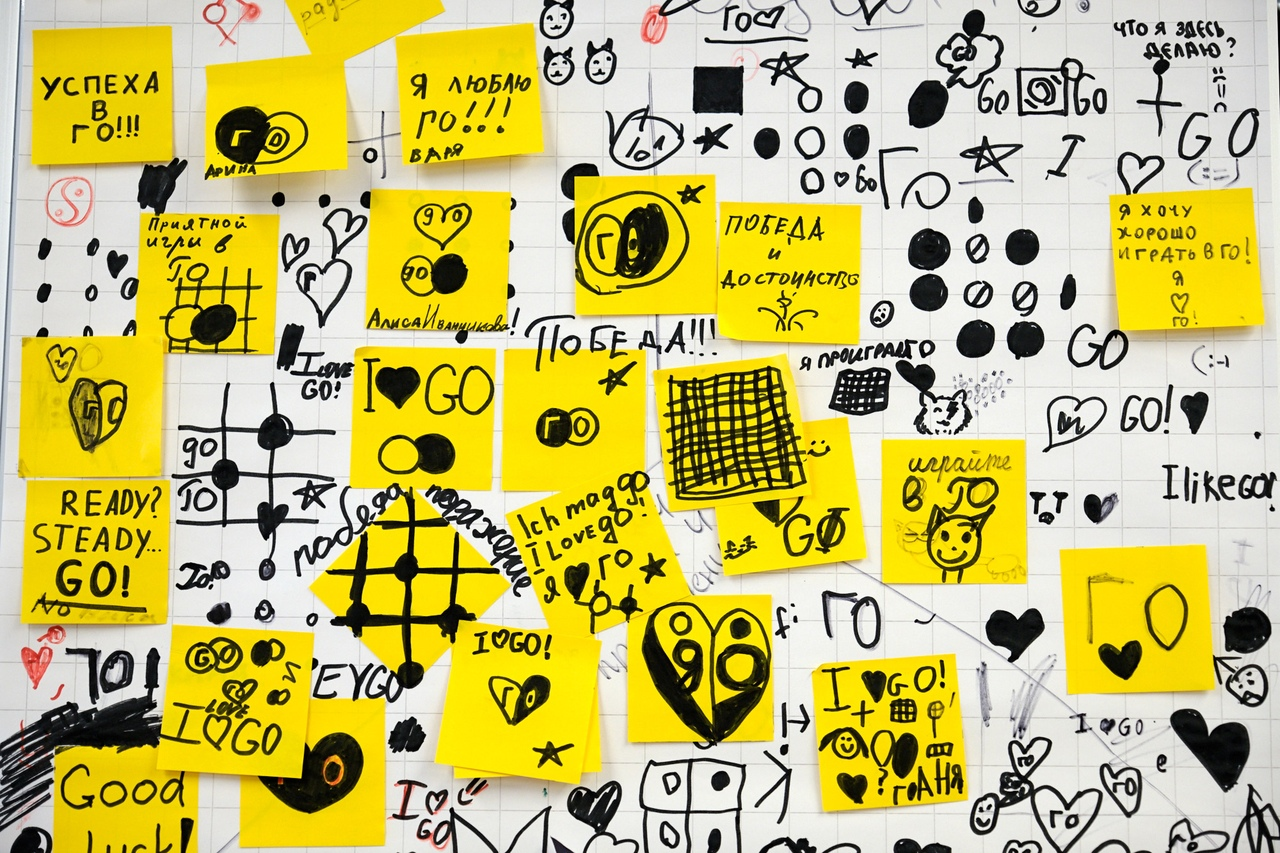 Фото страницы флип-чарта, разрисованного участниками турнира. Надписи о своей любви к игре и пожелания успеха.