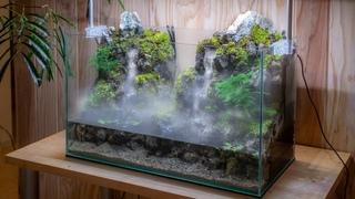 Making an Aquaterrarium with two waterfalls【滝の飛沫を再現したい】