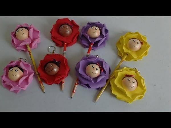 DIY Lembrancinha Kit Chaveiro e Ponteira Boneca Flor