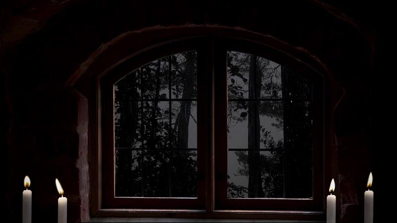 Midnight downpour Rain on window 1 hour Candle lit relax study sleep