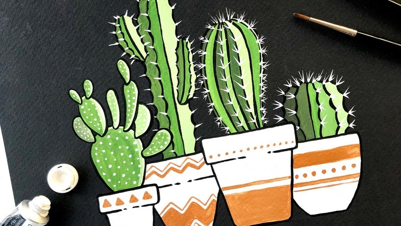 Gouache Painting Cactus on Black Coldpress Watercolor Paper