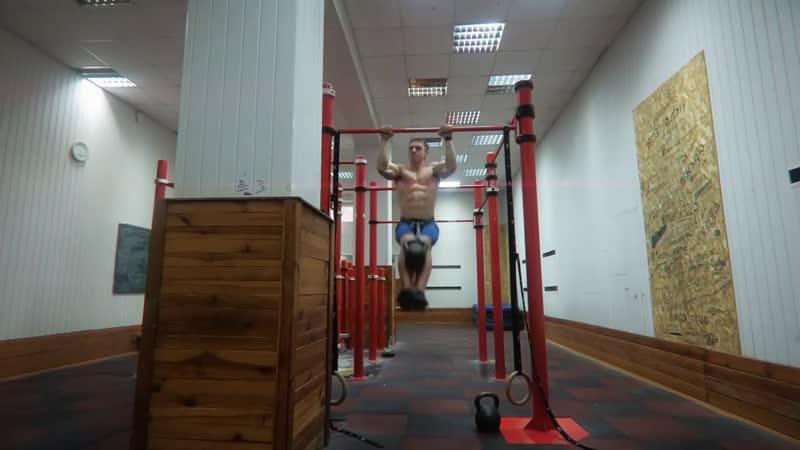Максим Трухоновец. 11 Выходов на две с гирей 16 кг. 11 Muscle ups 16 kg