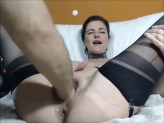 Amateur queenvivian amazing anal ruined with fist, dildo and wife bottle
