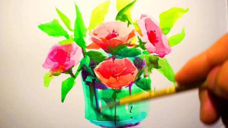 Still life in watercolor vase of flowers 꽃그리기 水彩