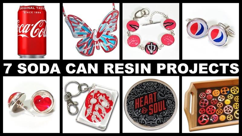 7 Epoxy Resin Projects using Aluminium Soda Pop Drinks Cans | Cufflinks | Pendant | Earrings More!
