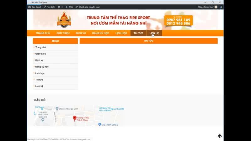 Tải Theme WordPress Web trung tâm thể thao