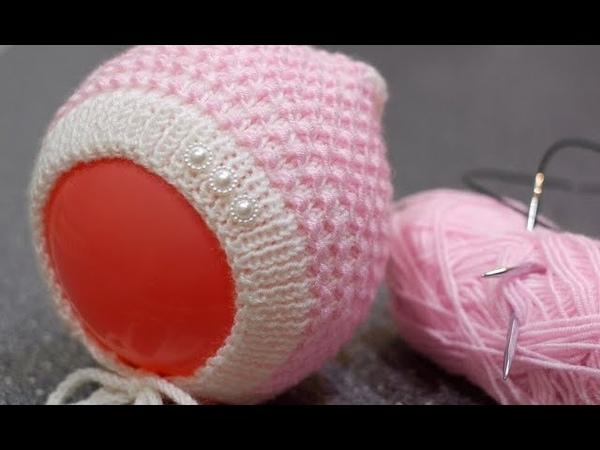 Вяжем спицами чепчик для новорожденного «Жемчужинка». Подробный МК со схемами и формулами.