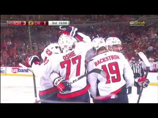 Alex ovechkin scores after nice cross-ice feed from john carlson