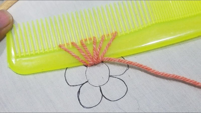 Hand Embroidery Mermaid Flower Easy Idea Trick With Hair Comb Sewing Hack,Easy Flower Stitch Design