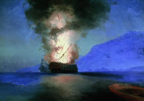 « одного шедевра». «Взрыв корабля», Иван Константинович Айвазовский