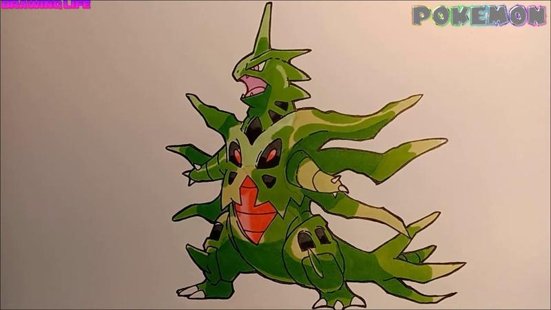 Drawing pokemon cách vẽ mega tyranitar pokemon song hệ bóng đêm đá