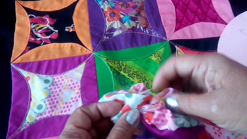 38-Cathedral Window quilt/bedspread from leftover pieces of cloth(Hindi/Urdu)