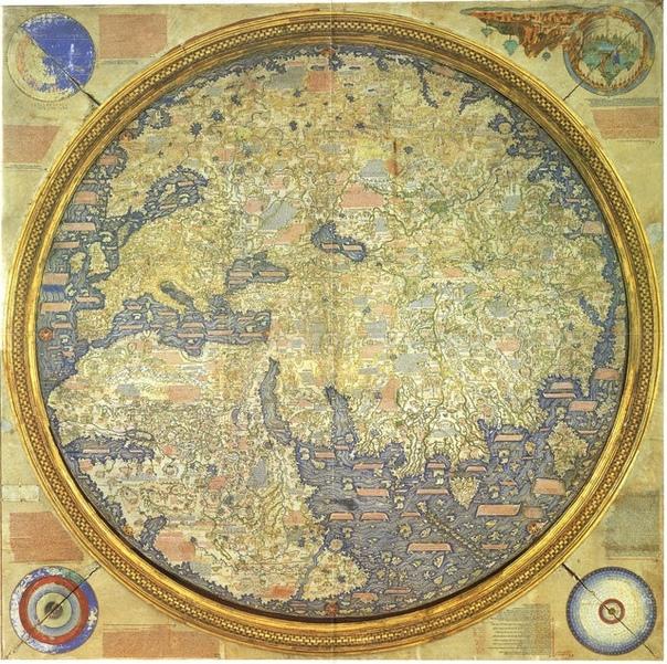 Средневековая европейская карта, созданная венецианским монахом Фра Мауро, 1450 г. Эта круглая карта мира нарисована на пергаменте и помещена в деревянную раму диаметром около двух