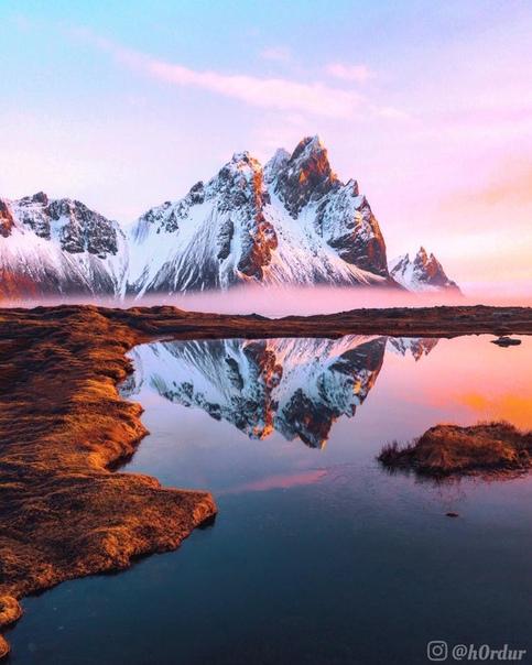 Волшебный восход солнца близ горы Вестрахорн, Остер-Скафтафельссисла, Исландия Фото: h0rdur