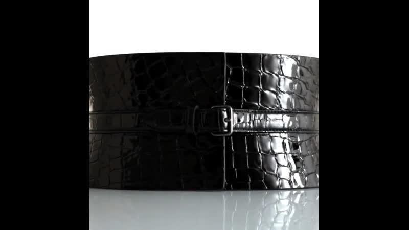 AzzedineAlaiaClassic patent black crocodile corset belt
