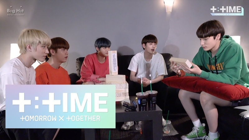 [T:TIME] TOMORROW X TOGETHER Practicing jenga game! - TXT (투모로우바이투게더)