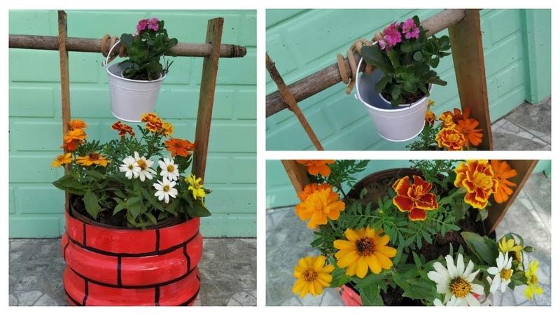 DIY Decoração Mini Poço para Jardim - Tutorial poço feito com galão de água e caixote de feira