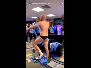 Scenes in the man city dressing room at wembley after winning the fa cup