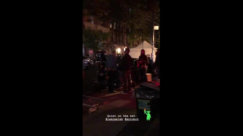 Rami Malek filming Mr Robot