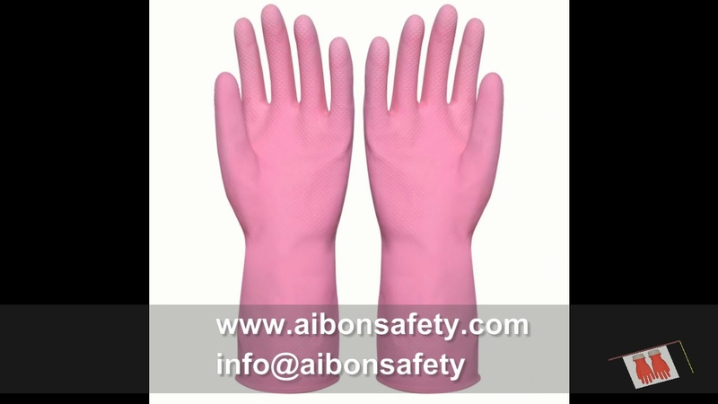 Large Multi Use colors Flocklined Rubber Hand Gloves