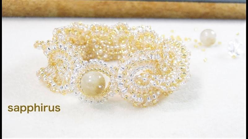 ハンドメイド How to make an elegant beaded bracelet Eng Sub シードビーズで編むブレスレットの作 1242