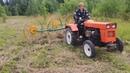 Кошение травы, ворошение и сгребание сена в валки на минитракторе
