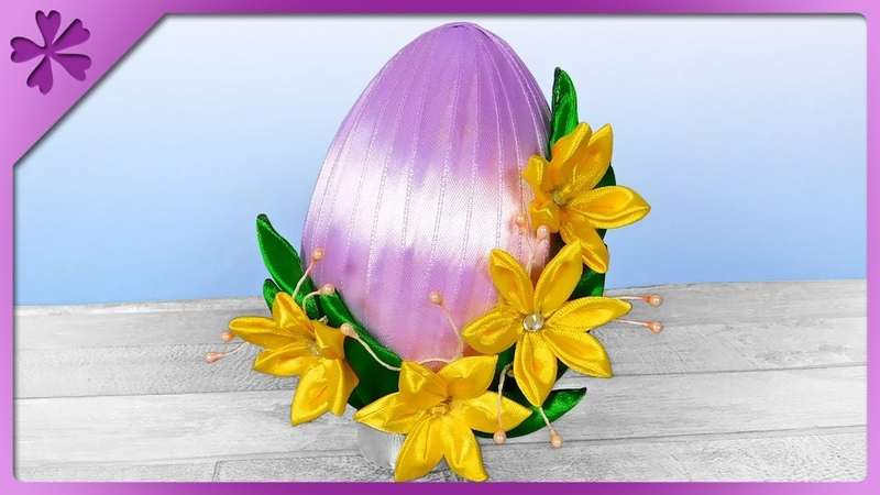DIY Ribbon Easter egg and kanzashi flowers 🌸 wonderful combination (ENG Subtitles) - Speed up 583