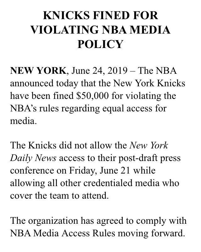 «Никс» не пустили аккредитованное издание на пресс-конференцию и получили штраф в 50 тысяч долларов