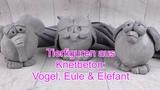 DIY Tierisch kreativ Tierfiguren Vogel, Eule &amp Elefant aus Knetbeton Betondeko selber machen
