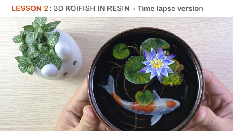 Lesson 2 Koi fish 3D painting in Resin Timelapse version