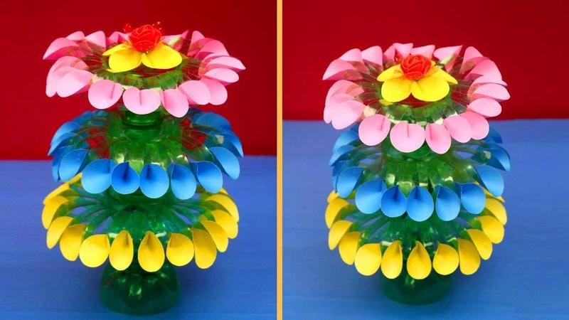 Empty Plastic Bottle Vase Making Craft Plastic Bottle Recycle Flower Vase Art Decoration Idea