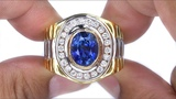 GIA Certified Top Gem Blue Sapphire and Diamond Gentlemen's Rolex Style Ring Solid 18k Gold
