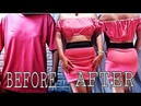 T Shirt Transformation Transform into Off The Shoulder Crop Top and Miniskirt No Sew
