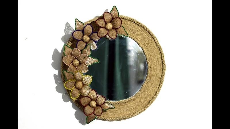Easy jute flower mirror wall hanging