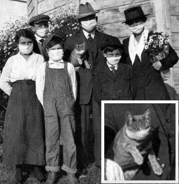 """Семья Перуджа во время эпидемии гриппа """"испанка"""", Калифорния, Дублин, 1920 год"""