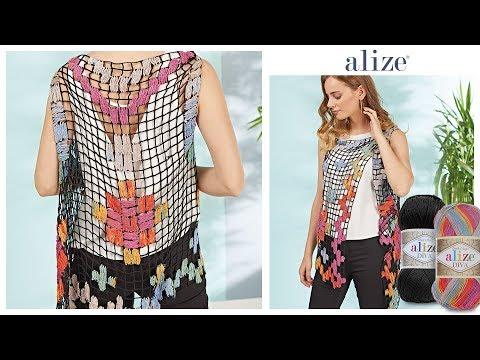 Tığ İşi Desenli Yazlık Yelek - Crochet Summer Vest w/ Alize Diva Diva Batik