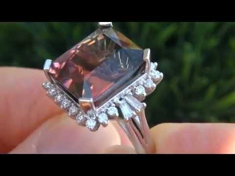 RARE 17.02 Carat Natural Watermelon Tourmaline Diamond Ring - UNHEATED UNTREATED