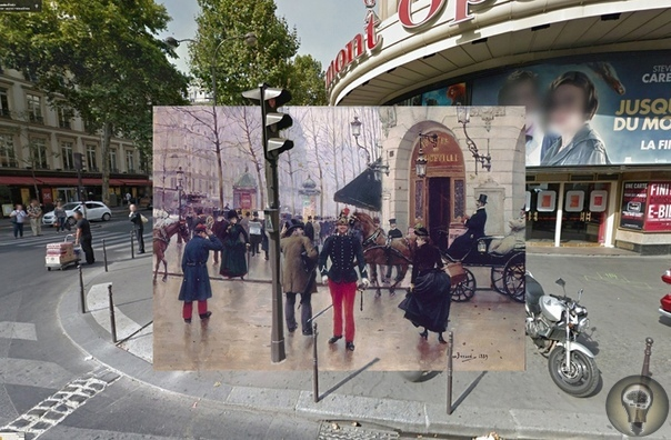 КАРТИНЫ И РЕАЛЬНОСТЬ. Ч.-1 Халли Докерти наложил известные картины прошлых веков на современные виды этих мест, взятые из Google Street View. И вот что получилось. Взгляните на не совсем обычный