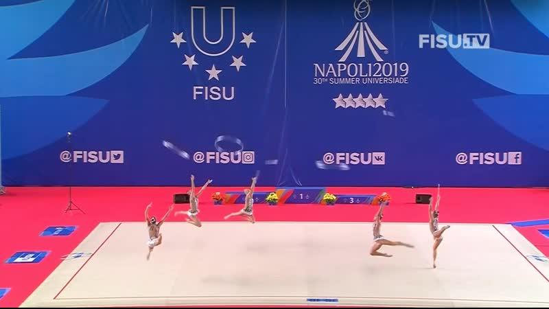 Студенческая сборная команда РФ в ГУ 3 обруча и 2х2 булав многоборье 23 050 Универсиада 2019