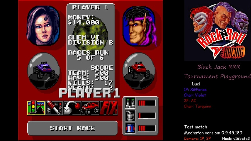 Rock n Roll Racing Hack v16 - one player vs one AI test match