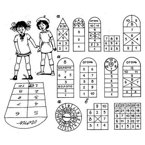 ИГРА В КЛАССИКИ На асфальте чертится фигура «классов». Формы ее бывают разные. Длина клеток от 30 до 50 см, ширина 50 см. Клетки обозначаются цифрами. У каждого из играющих бита это небольшой