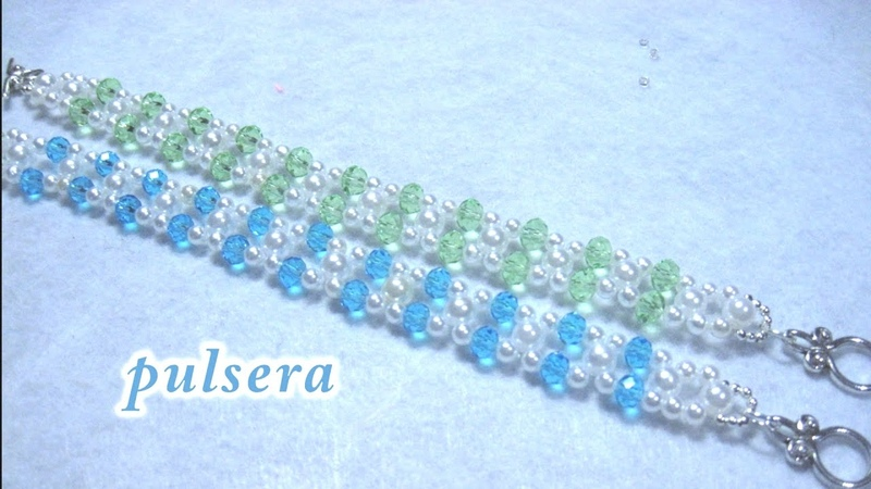 DIY Pulsera de perlas y cristalitos para niñas DIY Pearl Crystal Bracelet for Girls