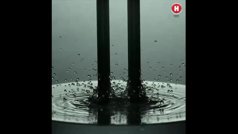 Взаимодействие камертона с водой 🔥