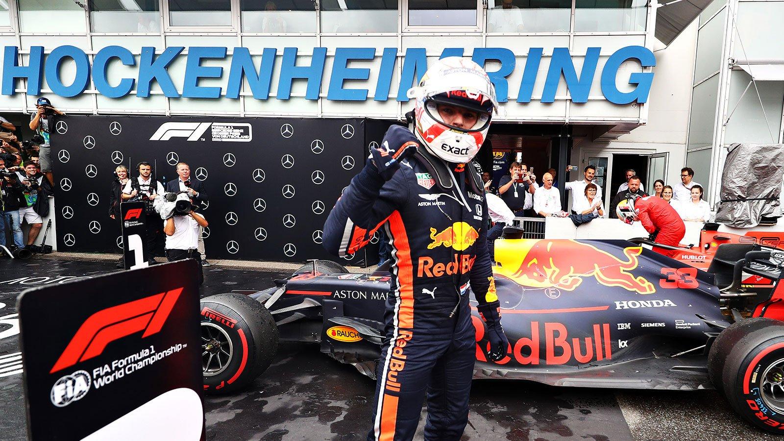 Макс Ферстаппен празднует победу в гран-при Германии 2019 года