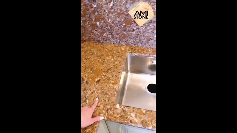 Видеоотчет для клиента после монтажа столешницы и фартука из кварцевого агломерата