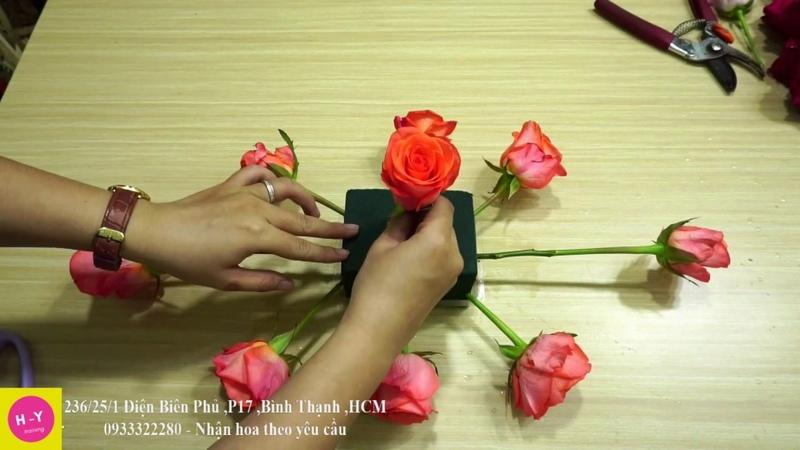 Cách cắm hoa để bàn đẹp Hoa Cát Tường mix Baby trắng Cắm hoa mở shop 34