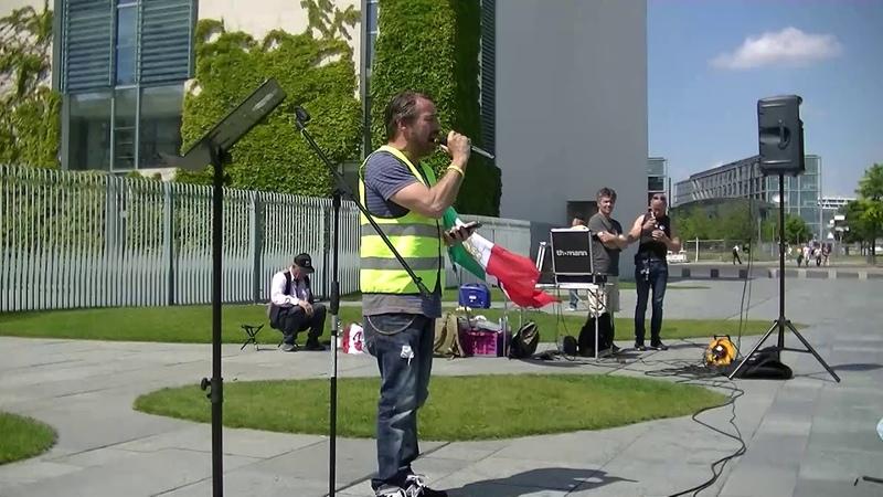 2019 06 01 Sven Liebich bei GiletsJaunes Gelbwesten YellowVests Berlin Kanzleramt Eric Graziani