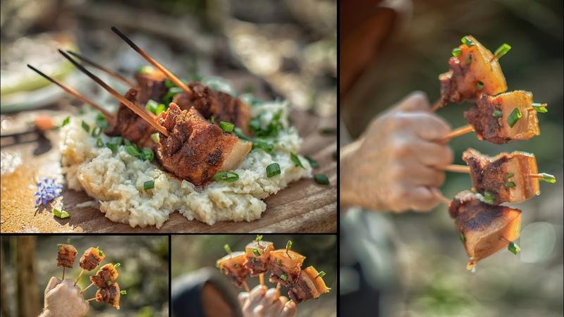 Pork Belly Skewers - Bushcraft Style