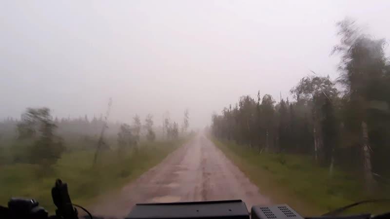 Гроза и ливень по дороге Янью Косью в 5 утра 17.07.2019 Печорский р н Коми