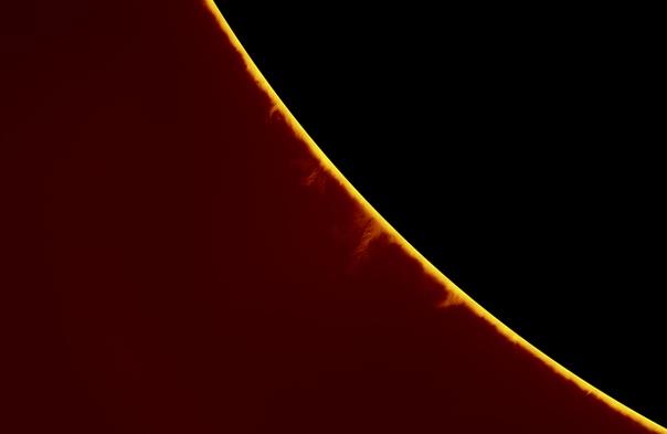 Фотография Солнечного протуберанца в линии водорода-альфа
